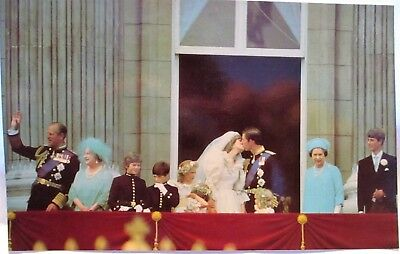 1981 Postcard Kiss Her Kiss Her! Prince Charles Kisses Diana,mother Nods Consent