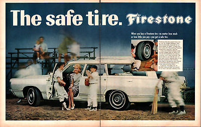 1968 Firestone Tires Little League Softball Players Large Vintage Print Ad 497