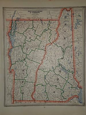 Vintage 1884 New Hampshire Vermont Map Old Antique Original Atlas Map 84/081016