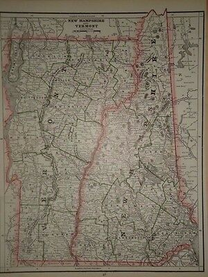 Vintage 1888 New Hampshire Vermont Map Old Antique Original Atlas Map 88/041517