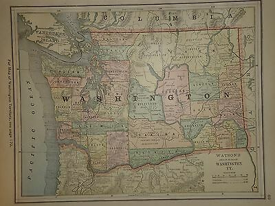 Vintage 1885 Washington Territory Map Old Antique Original Atlas Map 85/081016