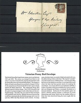 Lot:27907  GB Postal history  QV Cover 1841 1d red brown imperf Glasgow