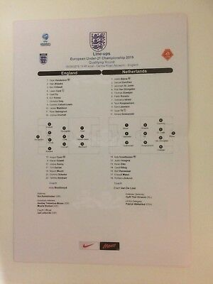 ENGLAND UNDER-21s v HOLLAND UNDER-21s 2018 OFFICIAL TEAMSHEET (6/9/2018)