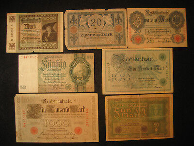 Nice Lot of 7 Old Bills form Germany, German Money, Collectible Currency