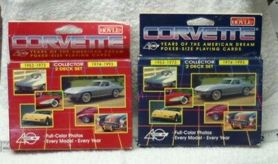 1993 Hoyle Corvette Playing Cards 4 Decks / 2 boxes 40th Anniversary NEW SO707