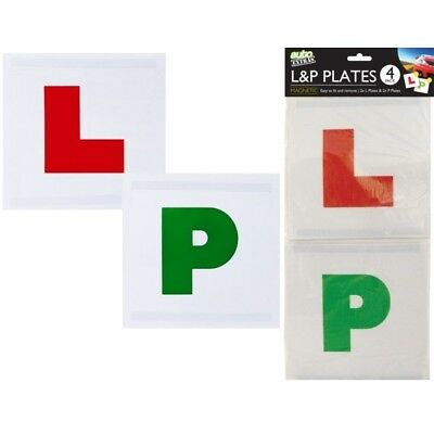 4pc Magnetic L P Secure Sign Plates New Car Learner Driver Pass Passed Safe