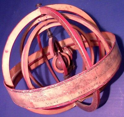 1800s Antique Armillary Sphere, Nice Original Condition, Missing Stand/Base