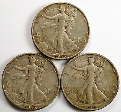 1945-P/D/S Walking Liberty Half Dollar Lot