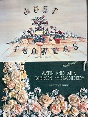 Lesley Turpin Delport Book Lot Satin Silk Ribbon Embroidery Just Flowers Crewel