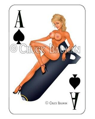Bomber Girl VIXEN VICKY! pinup playing card decal pin-up babe sticker NUDE