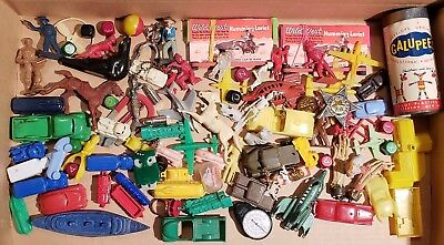 Mixed Vintage Plastic Car, Gumball, Crackerjack, and Collectible Toy LOT 1950s