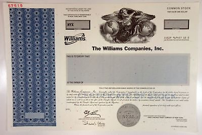 Williams Companies, Inc., 2000 Odd Shrs Common Stock Specimen Certificate, XF