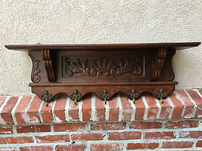 Antique French Carved Oak Wall Shelf Coat Hat Rack Farmhouse Kitchen Brass Angel