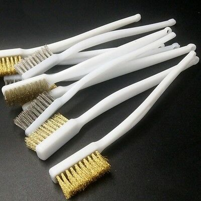 5pcs Plastic Handle Stainless Steel Brass Bristle Wire Brush White Kitchen Tools