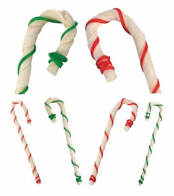 "8"" Holiday Rawhide Candy Cane Beef Chews Dog Treats Gifts Red Green Bulk Packs"
