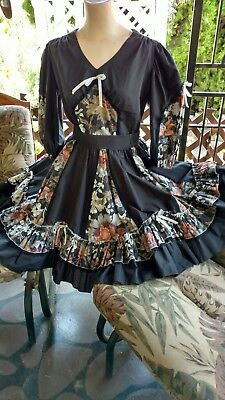 Square dance Blouse And Skirt, size 12. Black with rose and beige