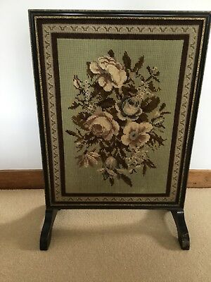 Attractive Vintage Ebonised Fire Screen Inlaid With Tapestry Panel