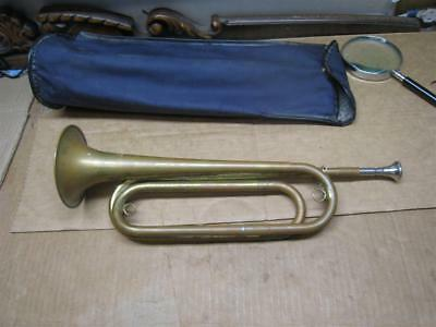 Vintage U.S. Regulation Bugle / Horn Military Issue ?? w/ Mouthpiece - Used