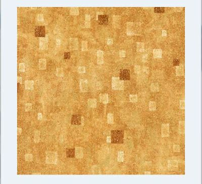 Kaufman G  Klimt Tan Gold Yellow Cotton Gilded Square Fabric BTY 17181-13