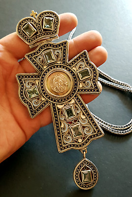 Russian Orthodox filigree sterling silver pectoral priest cross. Hallmarked 84.