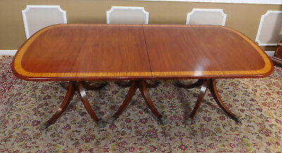 Large Antique Banded Mahogany Triple Pedestal Dining Room Table w/ 1 Leaf c1900