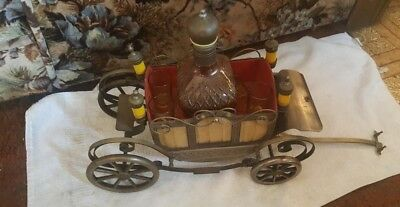1950s Japanese Musical Carriage Wagon Decanter and Shot Glasses,