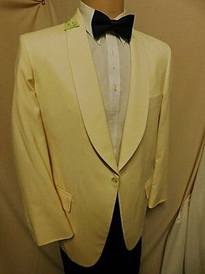 """D23 42R CREAM FILLING'S DINNER JACKET 24"""" arms FORMAL SHAWL COLLAR 1BUT"""