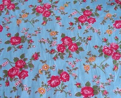 "Vintage Pink Red Roses on Blue Cotton Quilt Fabric 1.5 + Yards x 35"" wide"