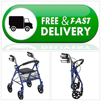Rollator Four Wheel Walker w/ Seat, Fold Up Removable Back SupportDrive Medical