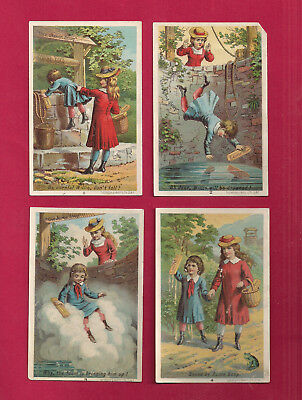 4 Greencastle, IN, story Victorian Trade Cards advertising ACME SOAP, ca 1880