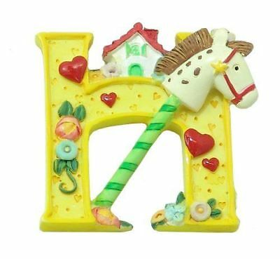 "NEW Enesco / Mary Engelbreit Super Magnet HORSE HOUSE LETTER ""H"" YELLOW"
