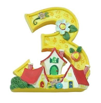"NEW Enesco / Mary Engelbreit Super Magnet ""3"" YELLOW~ NUMBER THREE YELLOW"