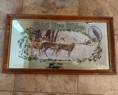 Pabst blue ribbon beer sign mirror Wildlife collection series whitetails 4th X4