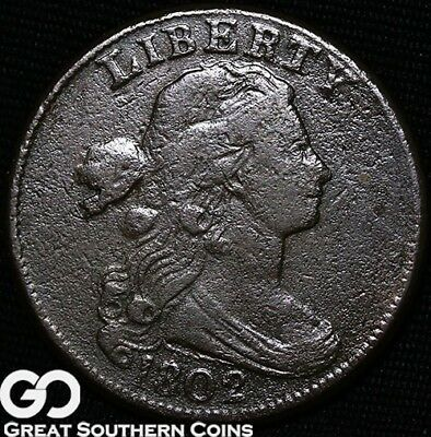 1802 Large Cent, Draped Bust, Stemless, Scarce Early Copper Type!