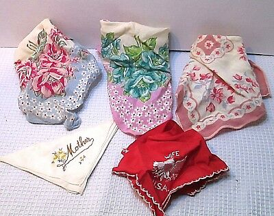 VINTAGE HANKIE EMBROIDERED HANDKERCHIEF  FLORAL ARMY WIFE  MOTHER lot of 5