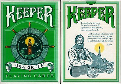 Keepers Sea Green Playing Cards Poker Size Deck Cartamundi ellusionist Custom