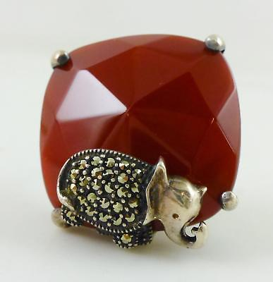 Red Carnelian Marcasite Elephant Sterling Silver Cushion Ring Sz 6.75