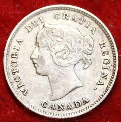 1899 Canada 5 Cents Silver Foreign Coin