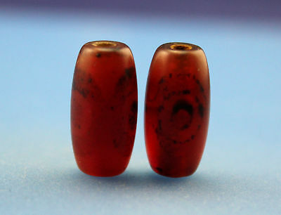20*10 mm Antique Dzi Agate old 3 eyes Bead from Tibet **Free shipping**
