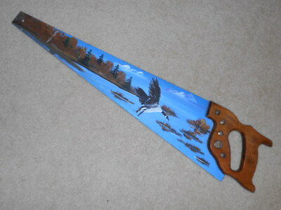 Vintage Folk Art - HAND PAINTED SAW Blade - Flying Goose - FREE SHIPPING.