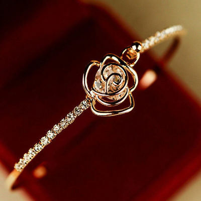 Elegant Women's Crystal Rose Flower Bangle Cuff Bracelet Wedding Jewelry Gold