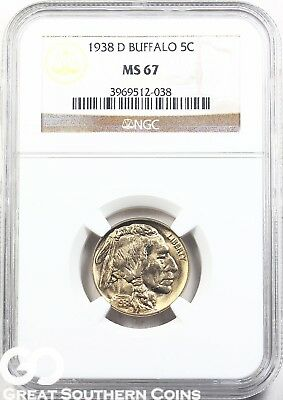 1938-D NGC Buffalo Nickel NGC MS 67 ** Gorgeous Coin, Very PQ