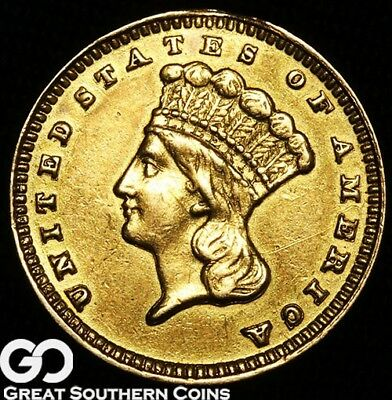 1888 Gold Dollar, $1 Gold Indian Princess, Type 3 Early Gold
