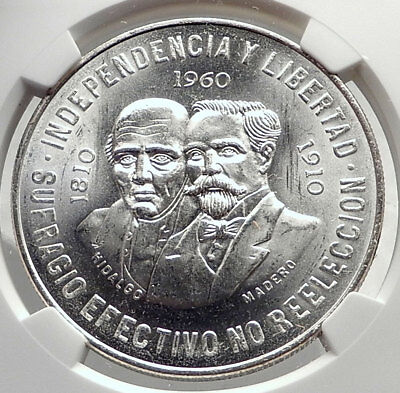 1960 MEXICO 150Years Independence HEROES 10 Pesos Silver Mexican Coin NGC i72145