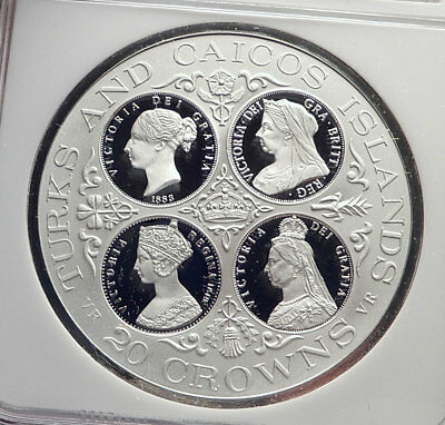 1976 TURKS & CAICOS Islands Proof Silver 20 Crowns UK QUEEN VICTORIA NGC i72146