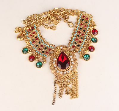 Old Wedding Collection Gold-Plated Red Zircon Embellished Hand Necklace