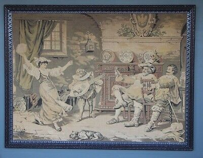 BIG antique Vintage tapestry hand carved oak frame French Merry baroque interior