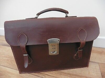 Superb brown tan leather, English made 1950's briefcase in good used condition