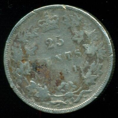 1881H Canada 25 Cent Piece, Queen Victoria, Original Sterling
