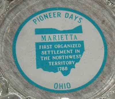 Vintage Glass Ashtray from Pioneer Days in Marietta Ohio